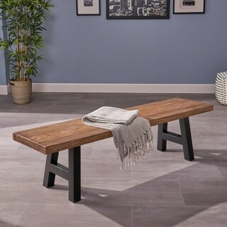Ozias Rectangle Concrete Picnic Dining Bench by Christopher Knight Home