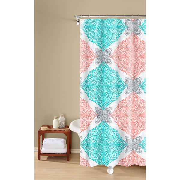 Shop Ava Medallion Print Textured Fabric Easy Care Shower Curtain Rh Overstock Com