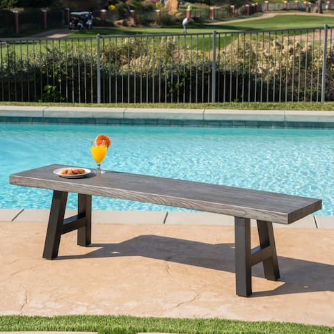 Lido Outdoor Rectangle Concrete Picnic Dining Bench by Christopher Knight Home
