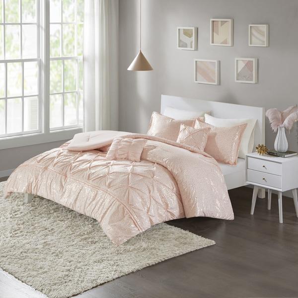 Intelligent Design Everly Blush/ Gold Metallic 5-piece Comforter Set