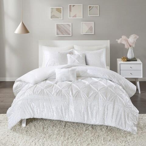 Intelligent Design Everly White/ Silver Metallic 5-piece Comforter Set