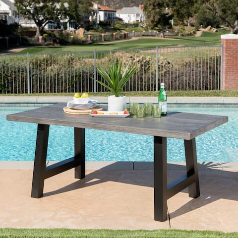 Lido Outdoor Rectangle Concrete Picnic Dining Table by Christopher Knight Home