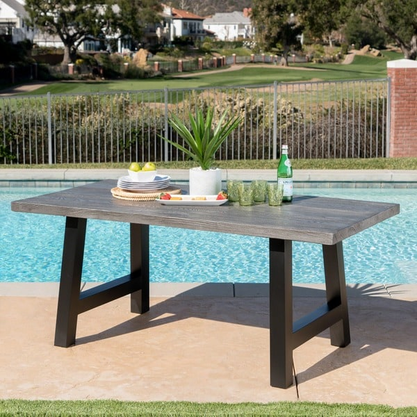 Lido Outdoor Rectangle Concrete Picnic Dining Table by Christopher Knight Home. Opens flyout.
