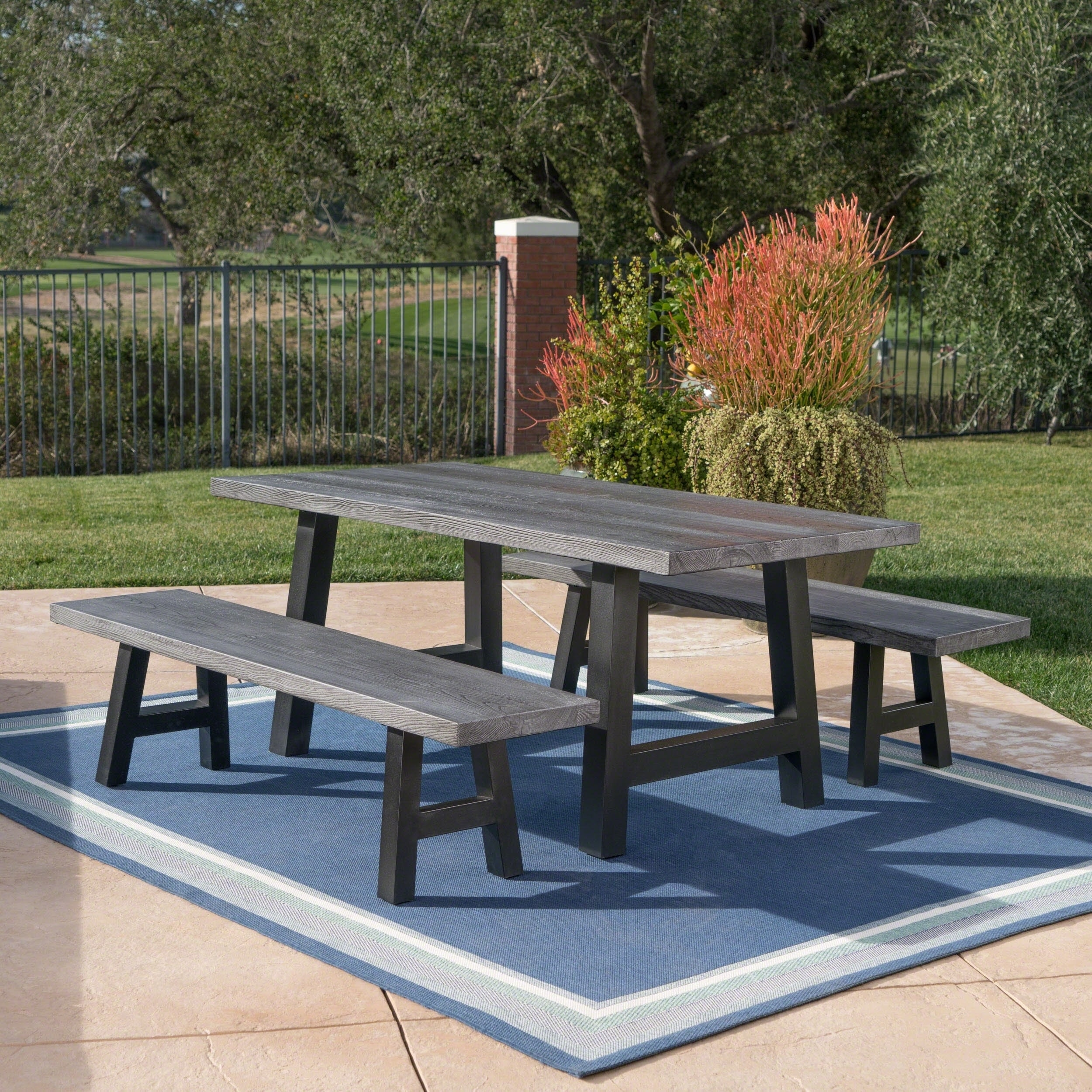 Lido Outdoor 3 Piece Rectangle Picnic Dining Set By Christopher