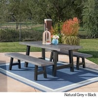 Lido Outdoor 3-piece Rectangle Picnic Dining Set by Christopher Knight Home