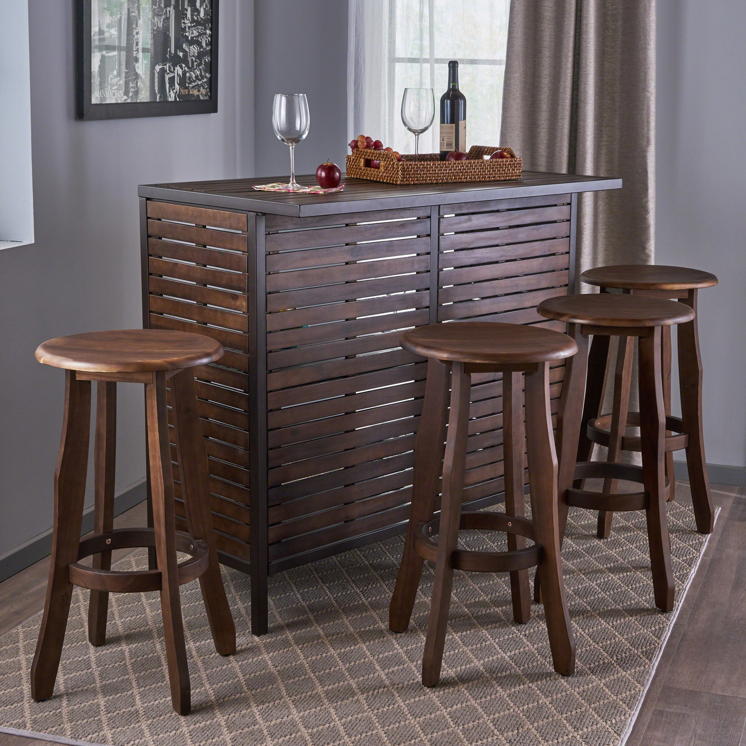 Christopher Knight Home Samala 5-Piece Acacia Wood Bar Set