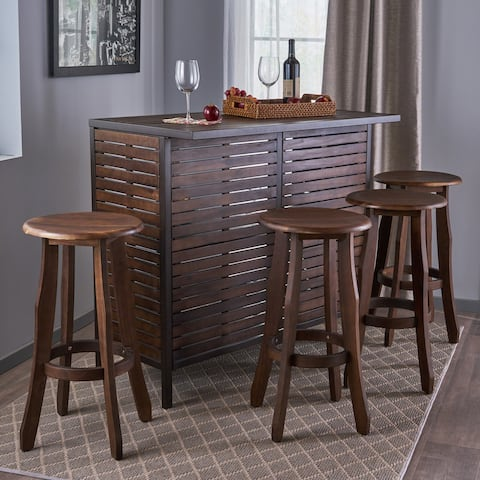 Samala 5-Piece Acacia Wood Bar Set by Christopher Knight Home