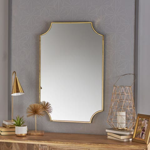 Verne Gold Finish Glam Wall Mirror by Christopher Knight Home - N/A