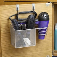 Home Basics Silver Over-the-Cabinet Hairdryer Organizer