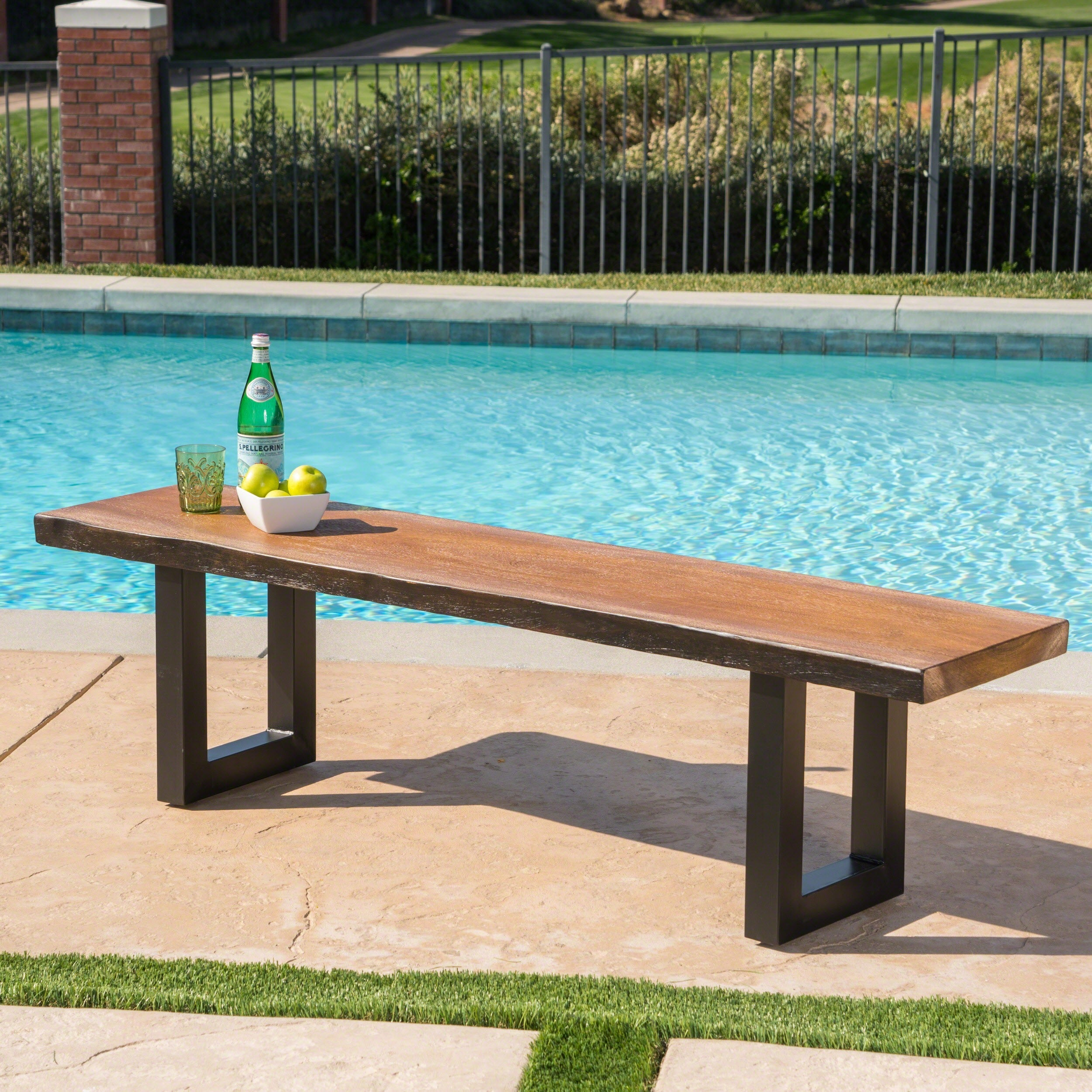 Outstanding Caldwell Outdoor Faux Live Edge Rectangle Concrete Picnic Dining Bench By Christopher Knight Home Evergreenethics Interior Chair Design Evergreenethicsorg