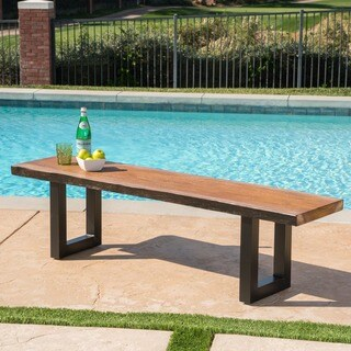 Caldwell Outdoor Faux Live Edge Rectangle Concrete Picnic Dining Bench by Christopher Knight Home