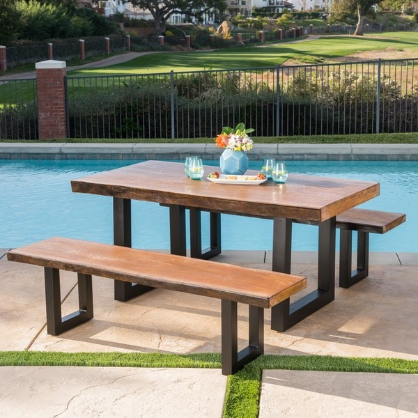 Caldwell Outdoor 3-piece Faux Live Edge Rectangle Light-Weight Concrete Picnic Dining Set by Christopher Knight Home