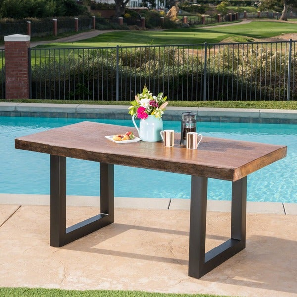 Caldwell Outdoor Faux Live Edge Rectangle Light-Weight Concrete Dining Table  by Christopher Knight Home - Shop Caldwell Outdoor Faux Live Edge Rectangle Light-Weight Concrete