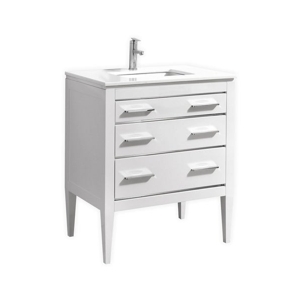 Eiffel 30'' High Gloss White Vanity W/ Quartz Counter Top