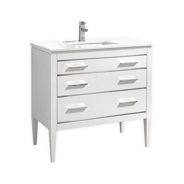 Eiffel 36-Inch High Gloss White Vanity with Quartz Countertop
