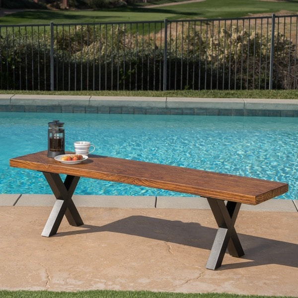Islamorada Outdoor Light-Weight Concrete Picnic Dining Bench by Christopher Knight Home