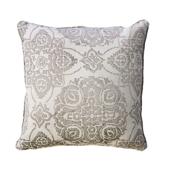 Shop Furniture Of America Eva 40inch Grey Floral Medallion Throw Impressive Gray And Beige Decorative Pillows