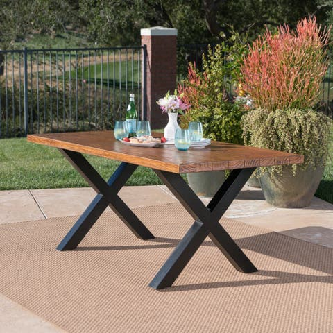 Orada Outdoor Rectangle Light Weight Concrete Dining Table By Christopher Knight Home