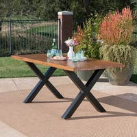 Islamorada Outdoor Rectangle Light-Weight Concrete Dining Table by Christopher Knight Home