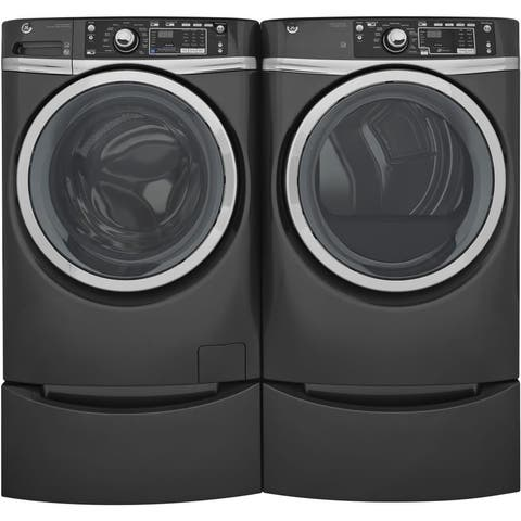 GE GFD48ESPKDG 28 Inch Electric Dryer and Front Load Washer Set