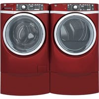 GE GFD48ESPKRR 28 Inch Electric Dryer and Front Load Washer Set
