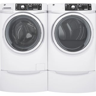 GE GFD48ESSKWW 28 Inch Electric Dryer and Front Load Washer Set