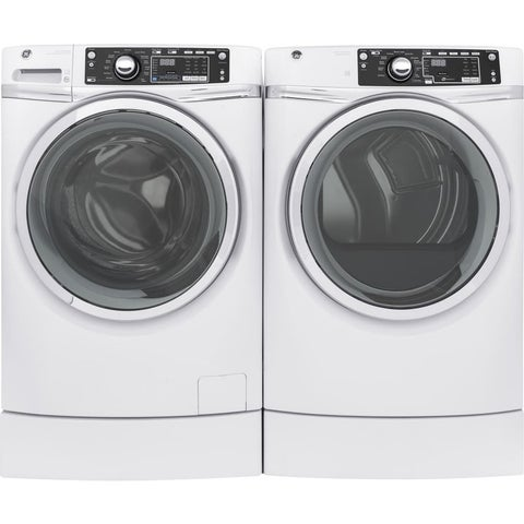 GE RightHeight Design Series GFD49GRSKWW 28 Inch Gas Dryer and Front Load Washer Set