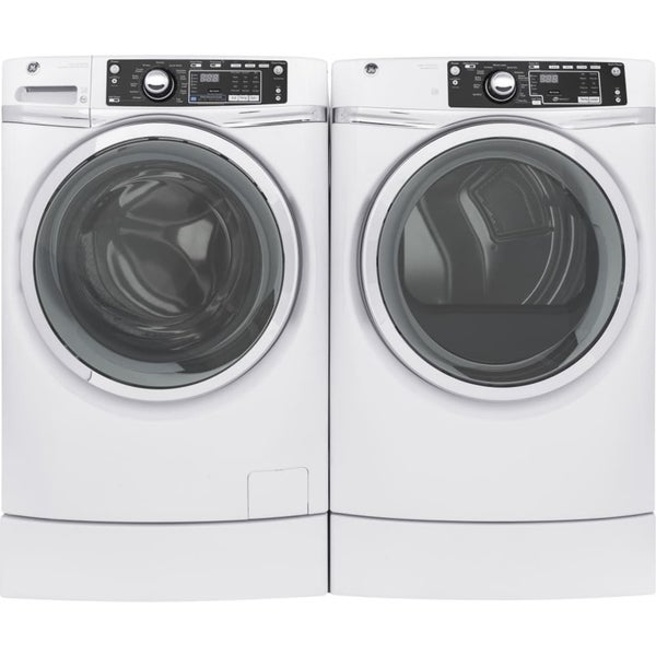 shop ge rightheight design series gfd49erskww 28 inch electric dryer and front load washer set. Black Bedroom Furniture Sets. Home Design Ideas