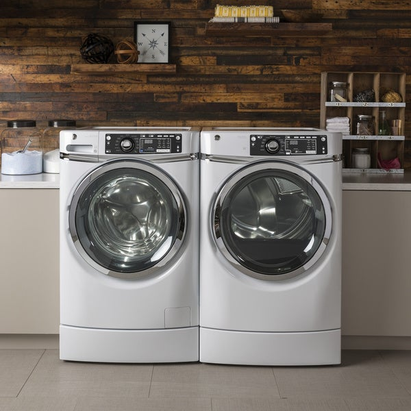 GE RightHeight Design Series GFD49ERSKWW 28 Inch Electric Dryer and Front Load Washer Set