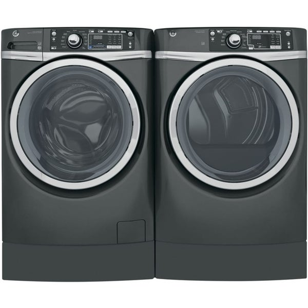 GE RightHeight Design Series GFD494RPKDG 28 Inch Electric Dryer and Front Load Washer Set
