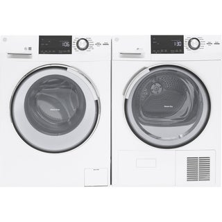 GE 24 Inch Ventless Condensing Electric Dryer and Front load washer Set