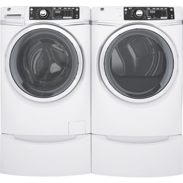 GE GFD48GSSKWW 28 Inch Gas Dryer and Front Load Washer Set