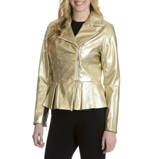 Women's Metallic Faux Leather Moto Jacket