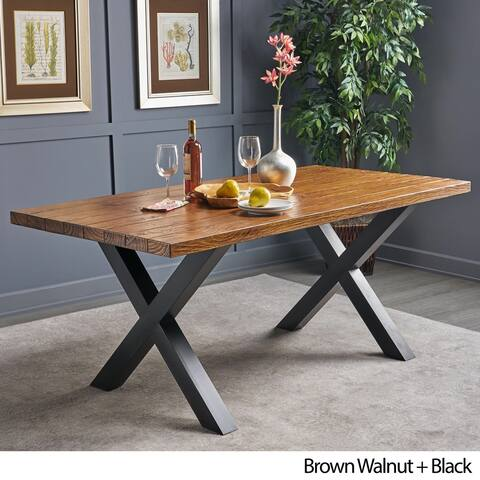 Mitzy Rectangle Light-Weight Concrete Dining Table by Christopher Knight Home - Walnut