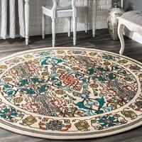 nuLOOM Modern Persian Printed Floral round Multi Rug (6'6'' Round)