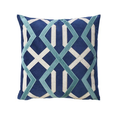 Furniture of America Jix Contemporary Blue Throw Pillows Set of 2