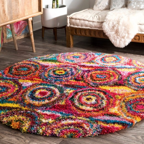 nuLOOM Contemporary Abstract Circles Shag Multi Round Rug (5'5'' Round)