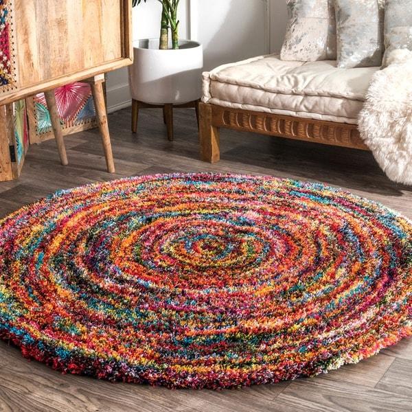 nuLOOM Contemporary Radiance Swirl Shag Multi Round Rug (5'5'' Round) - 5' 3 Round
