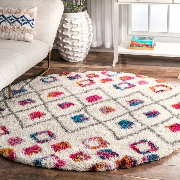 The Curated Nomad Ashbury Vibrant Bohemian Trellis Shag Area Rug - 5' 3 Round
