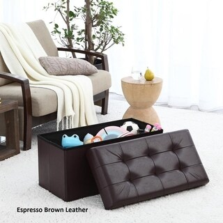 """Ellington Home Foldable Tufted Faux Leather Large Storage Ottoman Bench Foot Rest Stool/Seat - 15"""" x 30"""" x 15"""""""