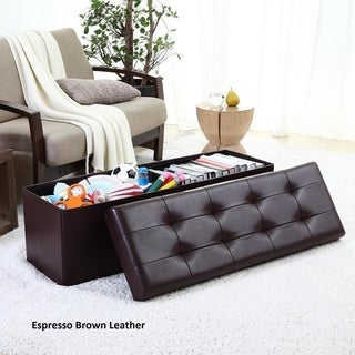 """Ellington Home Foldable Tufted Faux Leather Large Storage Ottoman Bench Foot Rest Stool/Seat - 15"""" x 45"""" x 15"""""""