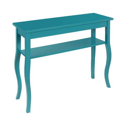 Kate and Laurel Lillian Wood Console Table with Curved Legs and Shelf