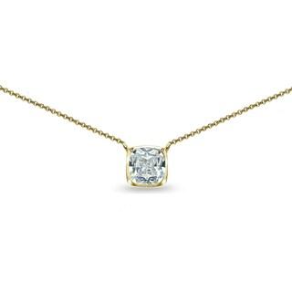 ICZ Stonez Cushion-Cut Cubic Zirconia Solitaire Choker Necklace in Bezel-Set Sterling Silver (Option: Yellow)