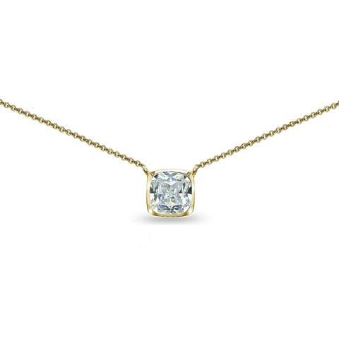 c0b03a30b6cbf3 ICZ Stonez Cushion-Cut Cubic Zirconia Solitaire Choker Necklace in  Bezel-Set Sterling Silver