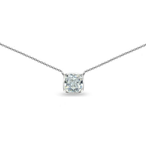 ICZ Stonez Cushion-Cut Cubic Zirconia Solitaire Choker Necklace in Bezel-Set Sterling Silver