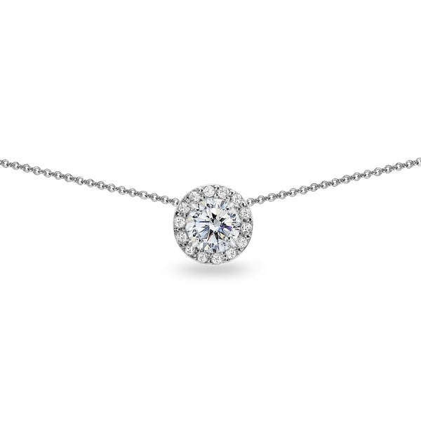 dd11603ba ICZ Stonez Round Halo Slide Choker Necklace Made with Swarovski Zirconia in  Sterling Silver