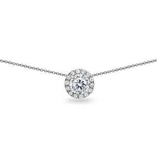 ICZ Stonez Round Halo Slide Choker Necklace Made with Swarovski Zirconia in Sterling Silver