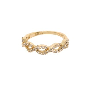Eternally Haute 14k Gold-plated Sterling SilverPave Braided Infinity Ring