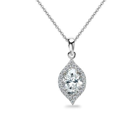 ICZ Stonez Sterling Silver Evil Eye Oval Necklace Created with Swarovski Zirconia