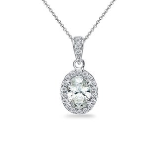 ICZ Stonez Sterling Silver Oval Halo Stud Necklace Created with Swarovski Zirconia